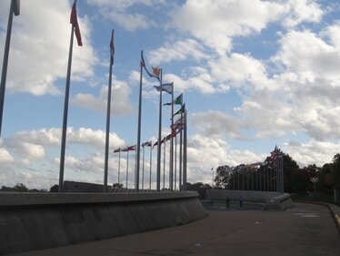 flags podium stade